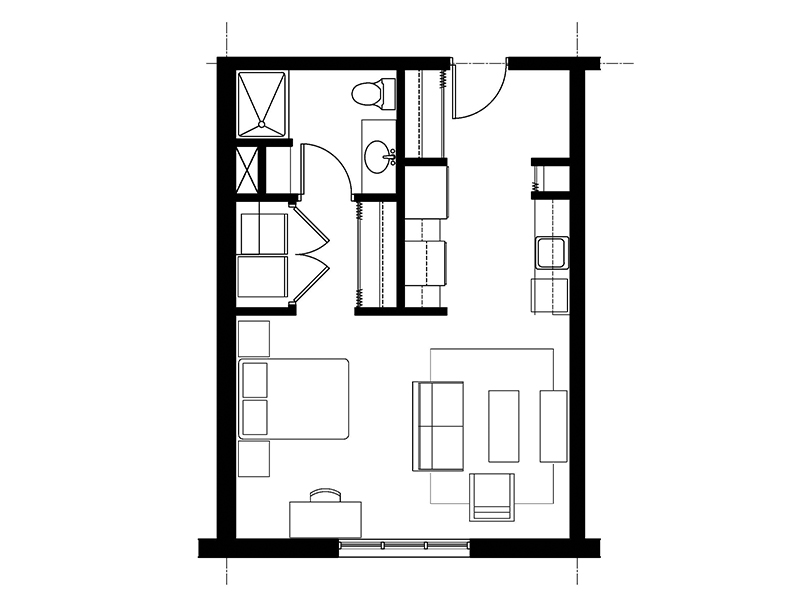 A - Studio / 1 Bath $1,450 - $1,600 501 SF